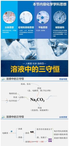 纯色扁平化学 选修四溶液中的三守恒PPT