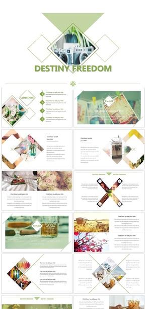 绿色欧美风小清新企业宣传画册PPT模板