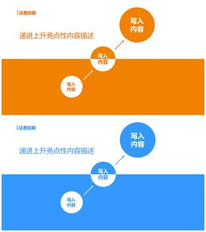 橙色蓝色递进上升关系扁平风格PPT图表