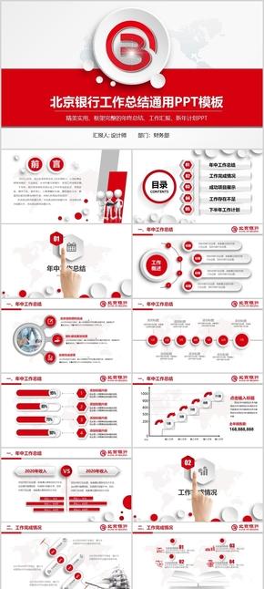 【框架完整】红色大气北京银行工作总结PPT