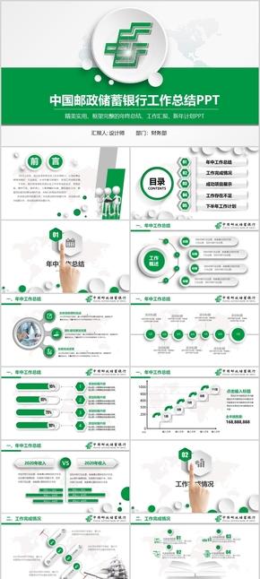 【框架完整】绿色大气中国邮政储蓄银行工作总结PPT