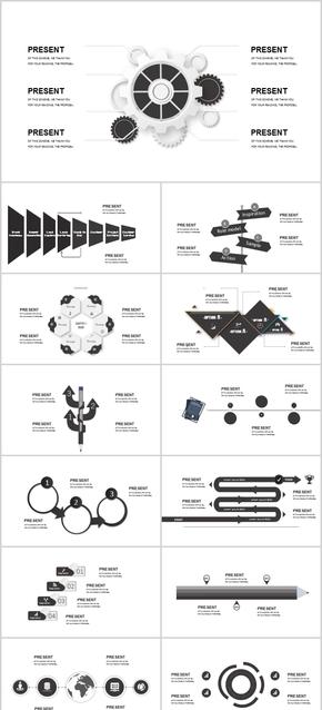 黑灰色创意3D立体ppt模板高档时尚大气工作总结计划汇报图表广告汽车金融科技机械互联网教育行业通用