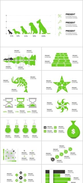 清爽绿色实用PPT模板图表素材图标文件手绘卡通元素狗山树叶沙漏灯泡环保自然环境植物饼图等