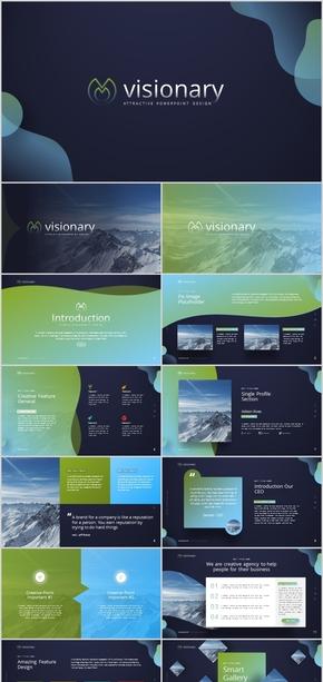 蓝绿色渐变大气工作汇报计划总结时尚多彩公司简介科技人工智能创意唯美电商广告现代杂质风简约复古ppt酷