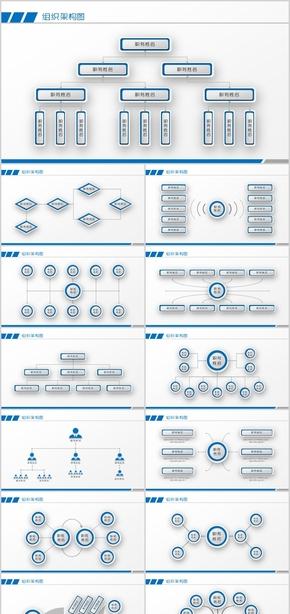 公司组织架构图模板PPT图表素材实用大气企业介绍画册部门成员简介卡通微立体清爽商务银行党政金融科技
