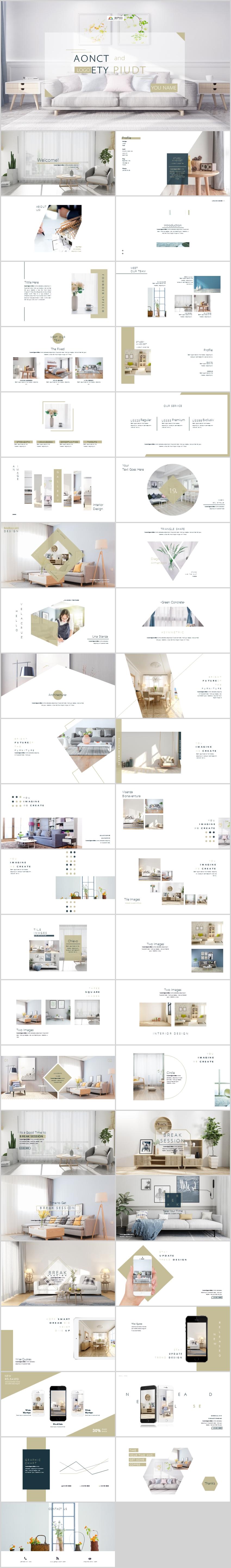 室内设计项目方案装潢装修房地产ppt模板简约清新清爽文艺唯美白色