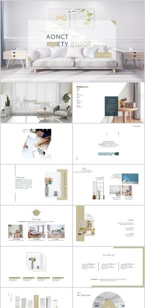 室内设计项目方案装潢装修房地产PPT模板简约清新清爽文艺唯美白色极简创意时尚日系韩风杂志广告建筑摄影