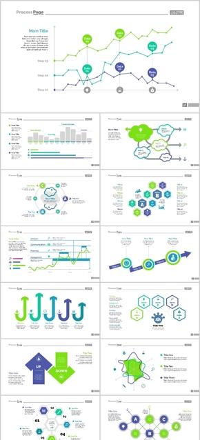 时尚图表可视化信息素材关系图流程图逻辑图发展趋势对比占比企业会议公司年会工作汇报计划总结PPT蓝绿色