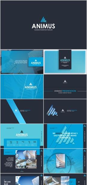 蓝色大气高端公司简介工作汇报计划总结ppt模板广告商务风欧式简约金融企业文化产品发布商业计划书科技