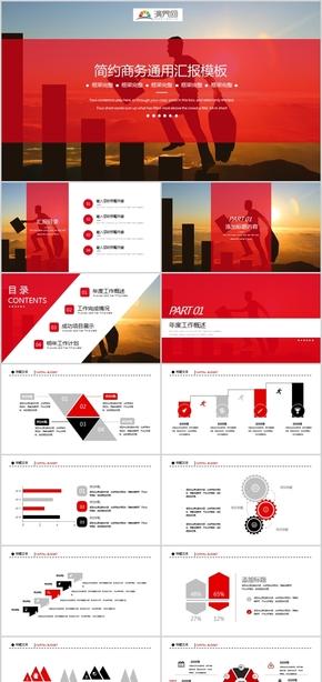 欧美商务风时尚红色工作总结计划汇报模板PPT设计实用通用绩效评估演讲报告人事财务简约创意商业计划书