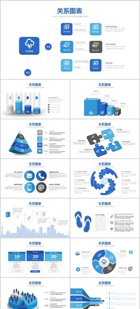 时尚创意蓝色微立体关系图表可视化信息素材PPT模板工作总结计划汇报商业投资理财公司报告常用扁平化元素