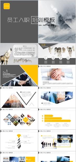 企业培训狼性文化狼的精神团队建设团结新员工课程手册公司宣传册PPT模板