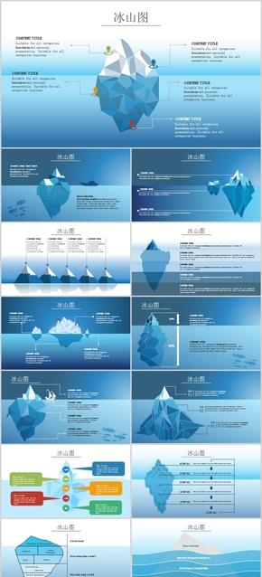 创意数据分析流程图关系图管理PPT模板工作汇报计划总结鱼骨图冰山自然环保广告环境农业水产行业素材卡通