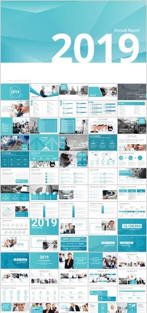 实用数据汇报ppt模板图表汇总常用商务型PPT模板饼图流程图人物介绍公司年终工作总结新年计划蓝色欧式