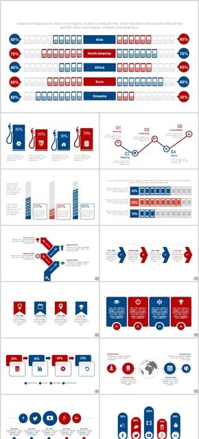 红蓝PPT图表素材公司工作总结工作计划工作汇报通用时间轴商务合作招商投资金融广告扁平化欧美风