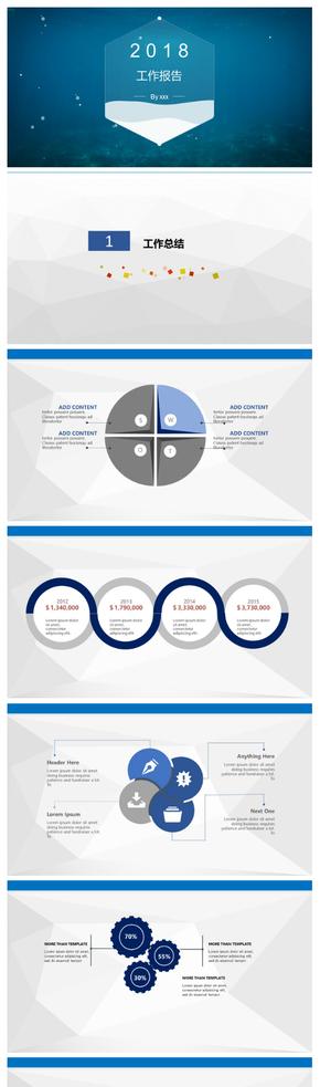蓝色商务汇报企业总结PPT模板