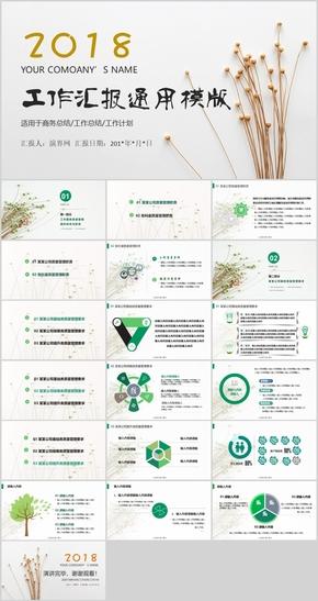 小清新简约平滑绿色风工作总结产品介绍微粒体动画PPT