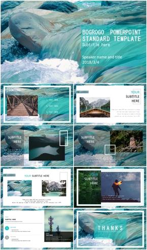 水綠色雜志風旅游攝影PPT模板