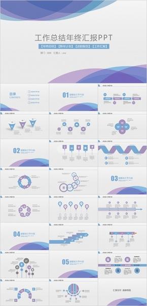紫色工作总结年终汇报PPT模板