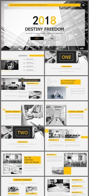 简约黑白黄欧美商务企业介绍工作总结动态ppt模板