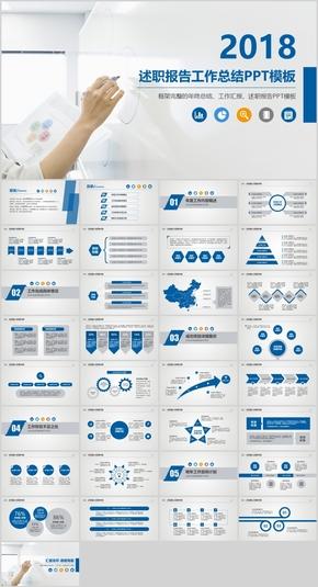 蓝色商务计划总结述职报告PPT模板
