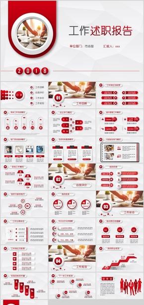 红色时尚述职报告PPT模板