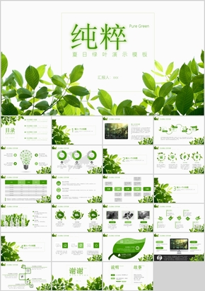 绿色小清新文艺范PPT模板