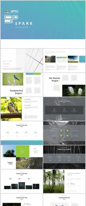 綠色圖片簡約商務風簡約風工作匯報PPT模板