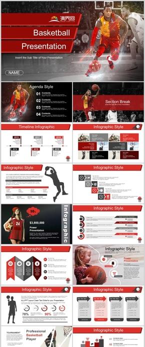 红色体育锻炼健身篮球运动比赛PPT模板