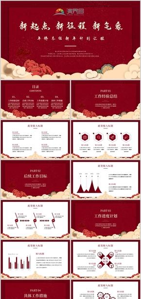 红色中国风新春新年总结汇报模板