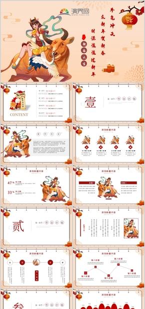 红色中国风新年春节年终年会总结汇报模板