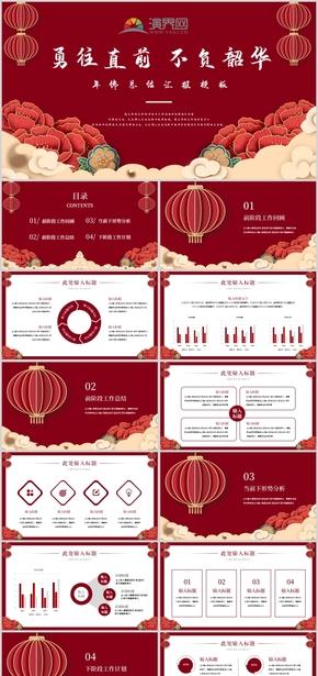 红色高端大气中国风新年春节工作总结汇报模板