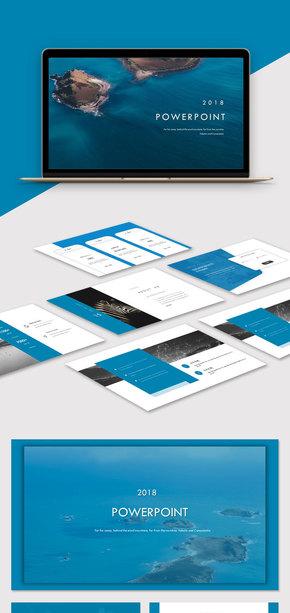蓝色简约大气欧美风杂志风商务PPT模板