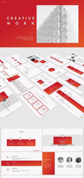 【商务】红色简约商务风欧美风实用工作汇报模板