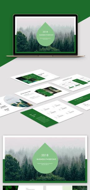 【歐美風】綠色極簡歐美雜志通用PPT模板