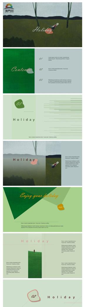 绿色粉色扁平简约清新大气旅游摄影广告商务通用模板