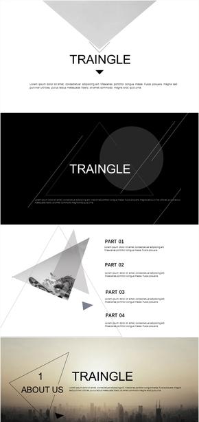 黑白灰杂志风扁平化PPT模板