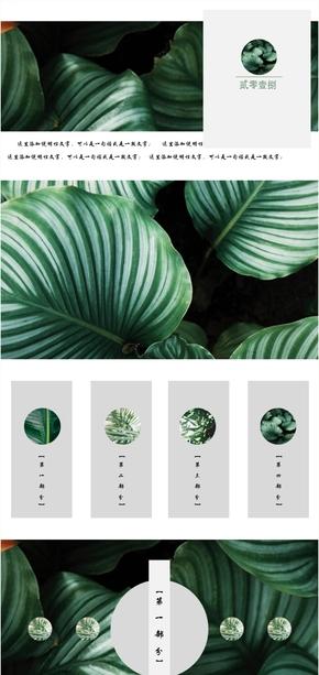 绿色植物文艺工作汇报毕业答辩PPT模板