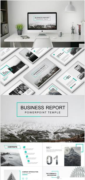灰色薄荷绿欧美杂志风企业商务汇报PPT模板