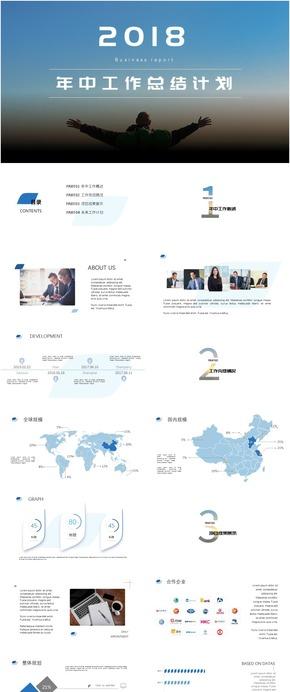 2018年中工作总结汇报蓝色大气简约商务动态模板