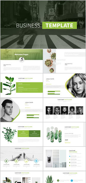 绿色渐变极简杂志风格商务通用PPT模板