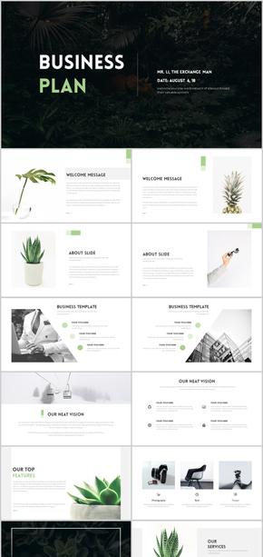 绿色清新简约时尚商业计划书通用PPT模板