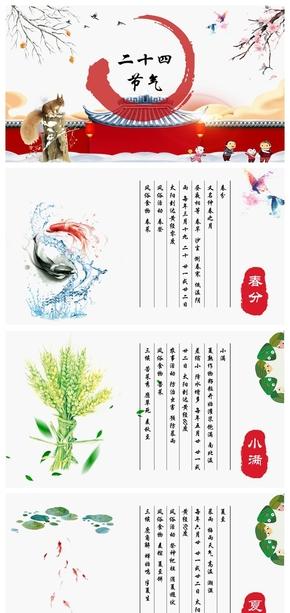 手绘中国风二十四节气(全)PPT模板附文字内容
