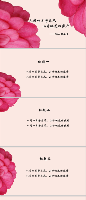 粉色花瓣中国风PPT模板