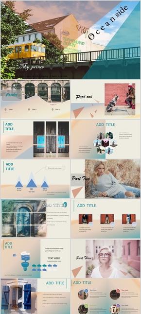欧美简约风杂志风创意渐变PPT模板