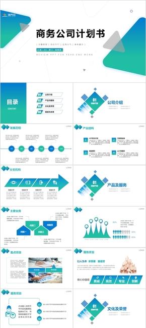 2020蓝色渐变商务公司计划书PPT模板