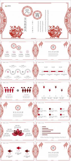 时尚春节文化剪纸风年终总结汇报PPT模板