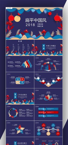 扁平中国风汇报总结