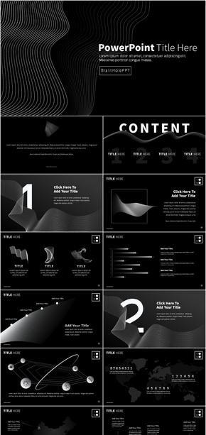 【抽象线条】黑白极简超现代风格PPT高端酷炫科技未来感太空模版