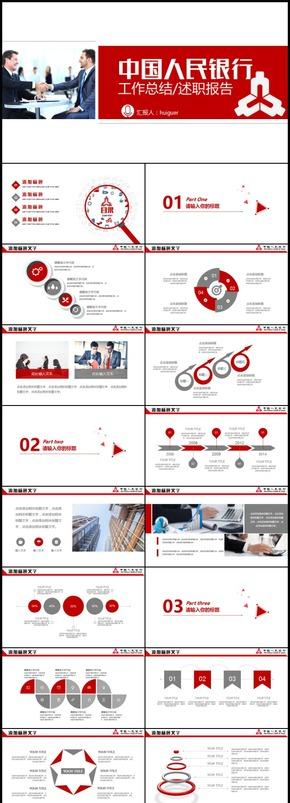 中国人民银行工作总结述职报告PPT模板